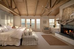 Love this coastal master bedroom