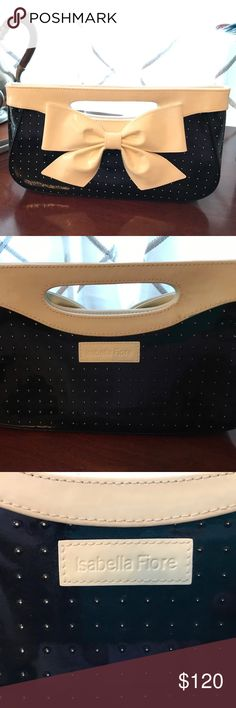 Isabella Fiore femmè black & white clutch w bow Beautiful black and white patent leather clutch by designer Isabella Fiore. A timeless classic that will never go out of style. Isabella Fiore Bags