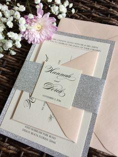 Silver Glitter and Blush wedding Invitation