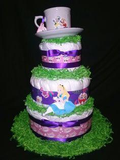 Baby Shower + Diaper Cakes + Alice + Gifts Alice In Wonderland 3 Tier  Diaper Cake
