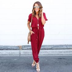 OL Ladies Playsuit Trousers Women Summer Sexy Jumpsuit Elegant Women's V-Neck Casual Chiffon Jumpsuits Romper Overall Rompers Women, Jumpsuits For Women, Casual Jumpsuit, Bodycon Jumpsuit, Jumpsuit Shorts, Tailored Jumpsuit, Summer Jumpsuit, Denim Romper, Dressing Rooms