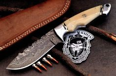 CFK-USA-Custom-Handmade-Raindrop-Damascus-Large-Skinning-Hunter-Camel-Bone-Knife