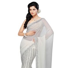 White  Faux Georgette Lehenga Style Saree With Blouse. This is really pretty!