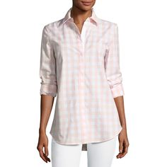 ed24a763f Lafayette 148 New York Brody Coastal Check Button-Down Blouse ( 298) ❤ liked