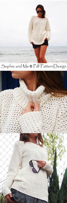 Basket weave sweater crochet pattern by Sophie and Me pdf pattern design. Lovely sweater pattern with an optional turtleneck. Looks great on the beach or for layering. Good for summer, spring or fall!
