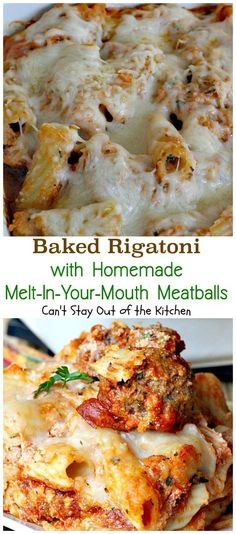 I'm a huge pasta lover and I have a sure fire fabulous Italian entree for you today! Baked Rigatoni with Homemade Melt-In-Your-Mouth Meatballs is so mouthwatering you will savor every bite. No kidding Rigatoni Recipes, Baked Rigatoni, Pasta Recipes, Sausage Rigatoni, Pasta Meals, Dinner Recipes, Italian Entrees, Italian Dishes, Italian Recipes