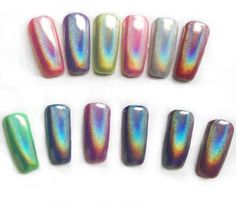 """TRENDING: HOLOGRAPHIC NAILS Easiest DIY Nail Magic To Date! This is MAGIC! The best kept secret this year - this magic """"UNICORN"""" holographic pigment powder has changed the game this Spring. Every jar"""