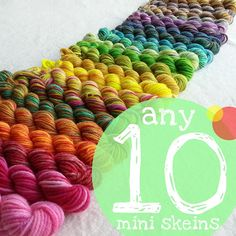 Any TEN 25 yd Mini Skeins,  Hand-dyed Fingering/Sock Merino Yarn, You Choose the Colours!