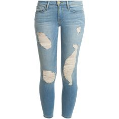 FRAME DENIM Skinny Crop Jeans ($108) ❤ liked on Polyvore featuring jeans, pants, bottoms, calças, cropped jeans, destructed skinny jeans, torn skinny jeans, blue jeans and distressed jeans