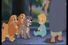 """Annette, Collette, Danielle, and Scamp with Junior from """"Lady and the Tramp II: Scamp's Adventure"""" (2001) by Disney Television Animation."""