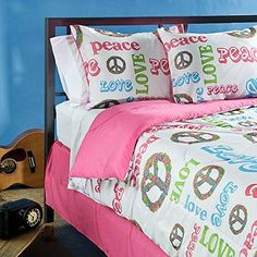 Bedspreads Teenage Girls Peace Time Twinsize 3piece Comforter Set Pink