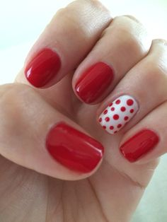 I was Minnie Mouse for Halloween so I went with a cherry red polish, white index finger and red dots to keep it festive! Polka Dot Nails, Polka Dots, Red Dots, Dot Nail Art, Cute Nails, Pretty Nails, Red Gel Nails, Shellac Nails, Acrylic Nails