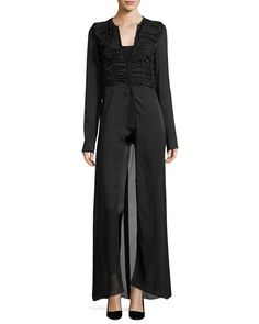 THE ROW Sabrina Shirred-Front Silk Charmeuse Maxi Dress, Black. #therow #cloth #