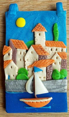 fimo holiday french village pendant by cuddly angel, via Flickr