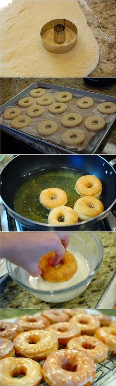 OMG I've been craving donuts... now I can make hot fresh ones at home! YES!!! Homemade Glazed Donuts | FoodGaZm..
