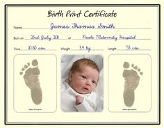 Birth certificate template with footprints google search family inkless birth print certificates the supermums craft fair yadclub Image collections