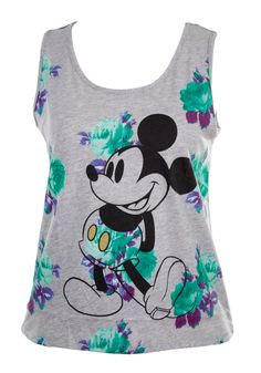 Mighty Fine Disney Vintage Mickey Mouse Floral Graphic Muscle Tank-Grey H-Large