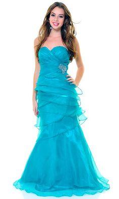 Elegant Jade Formal Gown Organza Long Layered Skirt Strapless Jewels   177,99$