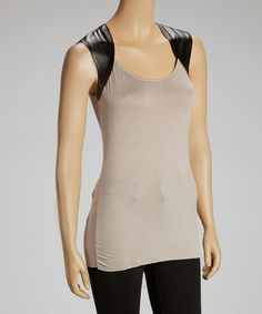 This Taupe Faux Leather Panel Sleeveless Top by Adrienne is perfect! #zulilyfinds