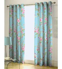 Nice SHABBY BLUE PINK ROSE FLORAL CHIC RING TOP EYELET LINED CURTAINS 66X72   I  Like These