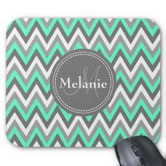 Monogrammed Blue & Grey Chevron Pattern Mousepad