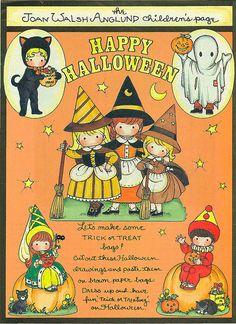 Joan Walsh Anglund Halloween paper doll craft page Vintage Halloween Cards, Halloween Paper Crafts, Halloween Doodle, Halloween Clipart, Happy Halloween, Halloween Stuff, 1960s Halloween, Kawaii Halloween, Halloween Banner