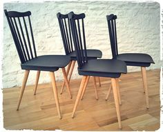 Chaises Vintage Baumann Pieds Compas Revisitées via OOMPA. Click on the image to see more!