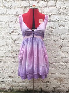 Boho Style Dress with Lace Detail Lilac & Pink size by AbiDashery