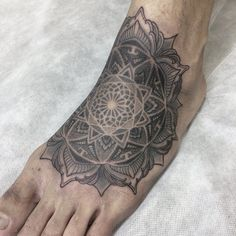 Unusual placement for such kind of a tattoo idea, but the Dotwork Mandala Foot tattoo by Nissaco Tatau says that there are no such a notion as a strict rules in Dope Tattoos, Body Art Tattoos, Tattoo Drawings, Mandala Foot Tattoo, Zentangle, Piercings, Tattoo Designs, Sacred Geometry, Magnolia