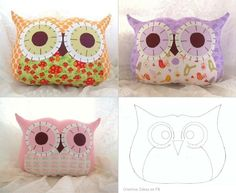 Super cute owl pillow for sunday afternoon (examples coming soon) . Free tutorial with pictures on how to make a bird plushie in under 60 minutes by sewing with fabric, felt, and stuffing. Inspired by gifts, kawaii, and owls. How To posted by kelly. Owl Fabric, Fabric Crafts, Sewing Crafts, Sewing Projects, Diy Projects, Make Your Own Pillow, Felt Owls, Owl Crafts, Personalized Pillows