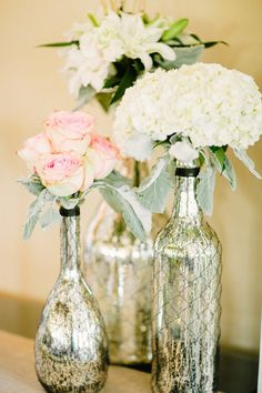 DIY Mercury Glass Bottles -- DIY wedding planner with ideas and tips including DIY wedding decor and flowers. Everything a DIY bride needs to have a fabulous wedding on a budget! Wedding Centerpieces, Wedding Table, Diy Wedding, Wedding Flowers, Wedding Decorations, Wedding Ideas, Wine Bottle Centerpieces, Wedding Images, Table Decorations