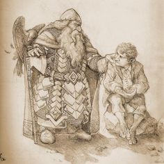 """Balin and Bilbo  by mellon edhellen  -     Balin is the second oldest of the company, and I always saw him as the most """"fatherly"""" toward Bilbo. I imagine them here on the eve of the battle of five armies. that's old Roac perched on his arm."""