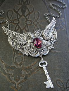 THE LAST KEY romantic Victorian steampunk style antiqued silver and amethyst Swarovski necklace