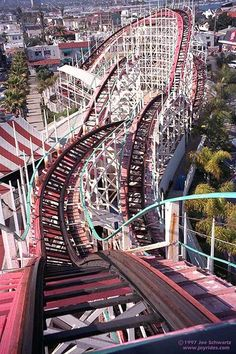 The historic Giant Dipper Roller Coaster at Belmont Park in Mission Beach. #sandiego