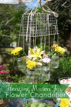Hanging Mason Jar Flower Chandelier - All Things Heart and Home
