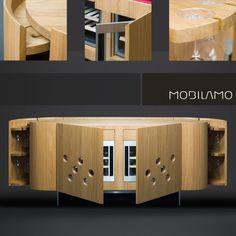 Das Design Weinmöbel von MOBILAMO ist ein einzigartiges Möbel für Weinliebhaber - ohne Weinkeller. Es kann als Anrichte im Esszimmer oder als Barmöbel im Wohnzimmer dienen und ist durch sein edles Design ein absoluter Blickfang.  In dem Sideboard aus Massivholz haben bis zu 36 Flaschen Wein Platz, die in zwei Weinkühlschränken ideal temperiert werden können. Designer, Buffet, Cabinet, Bar Ideas, Storage, Sideboard, Furniture, Home Decor, Wine Cellars
