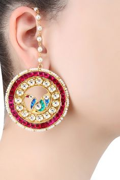 Ra Abta presents Gold plated kundan and ruby stones peacock design stud earrings available only at Pernia's Pop Up Shop.
