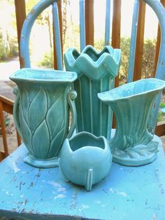Vintage McCoy Pottery Vases in beautiful blues and greens. ~ Mary Walds Place - Hope and Joy Home: More weekend vintage finds McCoy pottery