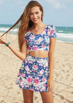 I'm not one for two piece outfits but this is super cute #floral