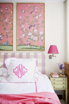 Love the framed De Gournay panels in this girly bedroom by Nick Olsen