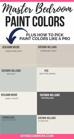 master bedroom paint colors See the best master bedroom colors for painting your bedroom! These relaxing, neutral, grey, blue, and warm color schemes look good in any room! Warm Color Schemes, Paint Color Schemes, Bedroom Color Schemes, Warm Colors, Warm Bedroom Colors, Colors For Master Bedroom, How To Paint Bedroom, Paint Ideas For Bedroom, Relaxing Master Bedroom