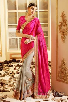 styling is always to be exclusive. Posh Magenta Beige Silk Lycra Banarasi Dhupion Half And Half Designer Saree