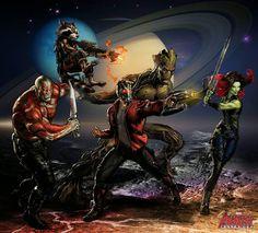 Starlord, Drax, Gamora, Rocket and Grood...!