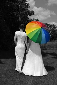 Those dresses are hideous, but I LOVE the black & white contrasted w/ the rainbow.