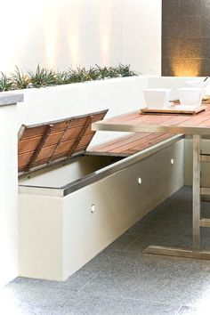Built in storage benches with outdoor accent lighting. Patio furniture & home decor DIY design inspiration. Built in storage benches with outdoor accent lighting. Patio furniture & home decor DIY design inspiration. Outdoor Seating, Outdoor Spaces, Outdoor Living, Outdoor Toys, Deck Seating, Outdoor Couch, Backyard Seating, Wall Seating, Banquette Seating