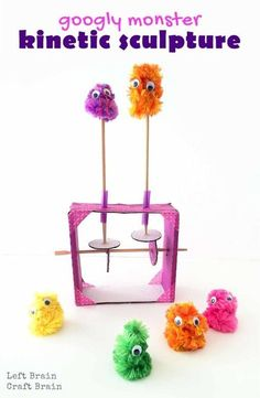 Googly Monster Kinetic Sculpture is a fun way to teach kids kinetics, the study of how forces make things move. Perfect STEM and STEAM skills builder.