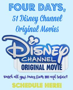 Disney Channel Original Movie Marathon Schedule May 27-May 30 -- Calling all millennials!! Disney is celebrating releasing their 100th Disney Channel movie and their gift to us is releasing FIFTY-ONE of their most popular movies in a movie marathon in the wee hours of Friday, May 27 to Monday, May 30. Get your DVRs ready because you know you want to watch Smart House, Halloweentown, Johnny Tsunami, Zenon: Girl of the 21st Century and Cadet Kelly again!