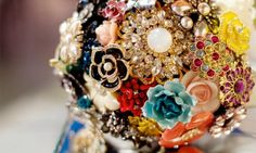 Bouquet made from vintage brooches and baubles