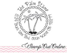 Palm Tree Beach Tropical Theme whimsical Custom Self inking Address  stamps -2742