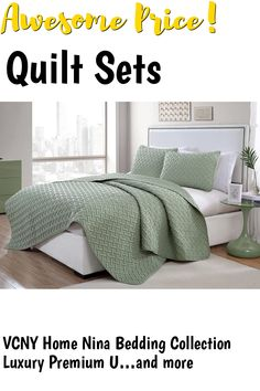 VCNY Home Nina Bedding Collection Luxury Premium Ultra Soft Quilt Coverlet, Comfortable 3 Piece Set, Modern Geometric Design For Home Hotel Decor, King, Green ... (This is an affiliate link) #quiltsets